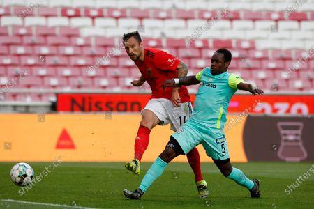 Haris Seferovic shoots to goal during the game for Liga NOS between SL Benfica and Maritimo, at Estadio da Luz, Lisboa, Portugal, 05, April, 2021