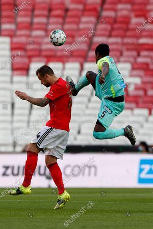Zainadine Jnior in a dangerous move towards Haris Seferovic during the game for Liga NOS between SL Benfica and Maritimo, at Estadio da Luz, Lisboa, Portugal, 05, April, 2021