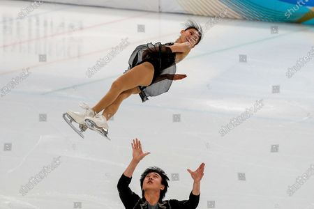Chinese skaters Wang Yunchen and Huang Yihang perform their pairs short program during a test event for the 2022 Beijing Winter Olympics at the Capital Indoor Stadium in Beijing, . The organizers of the 2022 Beijing Winter Olympics has started 10 days of testing for several sport events in five different indoor venues from April 1-10, becoming the first city to hold both the Winter and Summer Olympics