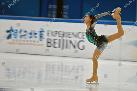 Chinese skater Feng Xinhui performs her women's single skating short program during a test event for the 2022 Beijing Winter Olympics at the Capital Indoor Stadium in Beijing, . The organizers of the 2022 Beijing Winter Olympics has started 10 days of testing for several sport events in five different indoor venues from April 1-10, becoming the first city to hold both the Winter and Summer Olympics