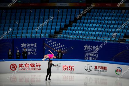 Chinese skaters Yang Yixi and Deng Shun Yuyao perform their pairs short program during a test event for the 2022 Beijing Winter Olympics at the Capital Indoor Stadium in Beijing, . The organizers of the 2022 Beijing Winter Olympics has started 10 days of testing for several sport events in five different indoor venues from April 1-10, becoming the first city to hold both the Winter and Summer Olympics