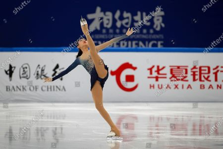 Chinese skater Jin Yuanxin performs her women's single skating short program during a test event for the 2022 Beijing Winter Olympics at the Capital Indoor Stadium in Beijing, . The organizers of the 2022 Beijing Winter Olympics has started 10 days of testing for several sport events in five different indoor venues from April 1-10, becoming the first city to hold both the Winter and Summer Olympics