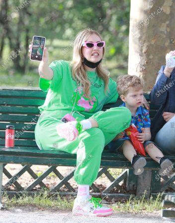 Chiara Ferragni with her son Leone Lucia Ferragni at Parco Sempione