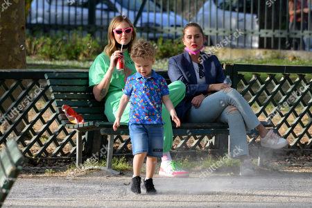 Stock Photo of Chiara Ferragni with her son Leone Lucia Ferragni and her sister Valentina Ferragni in the park