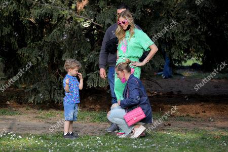 Stock Picture of Chiara Ferragni with her son Leone Lucia Ferragni and her sister Valentina Ferragni in the park