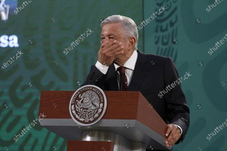 Stock Picture of The President of Mexico, Andres Manuel Lopez Obrador, speaks during briefing press conference and he spoke about the begin political campaign  to governors Elections at National Palace on April 5, 2021 in Mexico City, Mexico.
