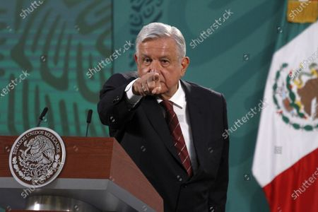Stock Image of The President of Mexico, Andres Manuel Lopez Obrador, speaks during briefing press conference and he spoke about the begin political campaign  to governors Elections at National Palace on April 5, 2021 in Mexico City, Mexico.