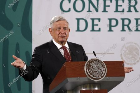Stock Photo of The President of Mexico, Andres Manuel Lopez Obrador, speaks during briefing press conference and he spoke about the begin political campaign  to governors Elections at National Palace on April 5, 2021 in Mexico City, Mexico.