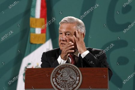 The President of Mexico, Andres Manuel Lopez Obrador, speaks during briefing press conference and he spoke about the begin political campaign  to governors Elections at National Palace on April 5, 2021 in Mexico City, Mexico.