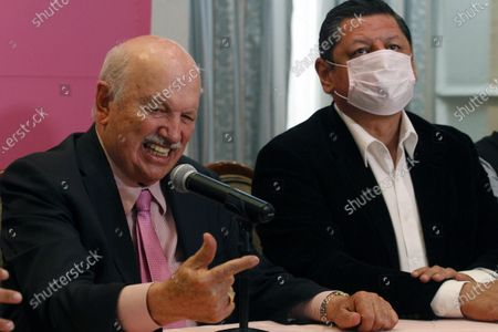 Stock Photo of Former Bishop, 84, from Ecatepec, Onesimo Cepeda Silva, speaks during a press conference to announce that he will be a candidate for local deputy for the Congress of the State of Mexico by  Fuerza por Mexico party in this elections. The religious minister is inactive since 2012, as Pope Benedict XVI accepted his retirement. On April 5, 2021 in Mexico City, Mexico.