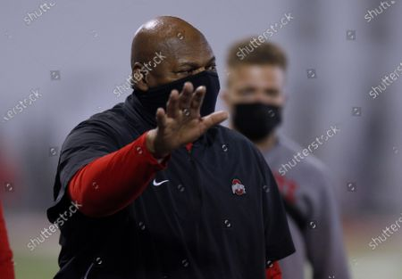Stock Image of Ohio State associate head coach Larry Johnson is seen during an NCAA college football practice in Columbus, Ohio