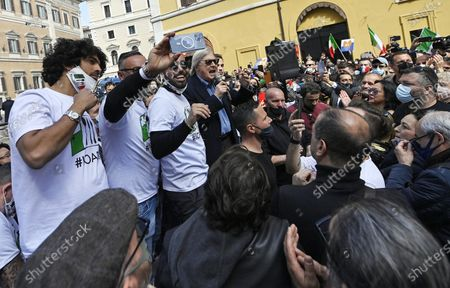 Editorial picture of Clashes with Police during merchants demonstration, Rome, Italy - 06 Apr 2021