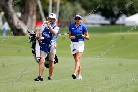 Gerina Piller of United States walks to the first hole during the final round of the LPGA's ANA Inspiration golf tournament at Mission Hills Country Club, in Rancho Mirage, Calif