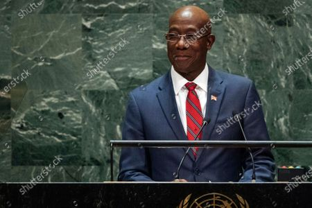 Trinidad and Tobago's Prime Minister Keith Rowley addresses the 74th session of the U.N. General Assembly at the U.N. headquarters. Rowley has tested positive for COVID-19, his office said