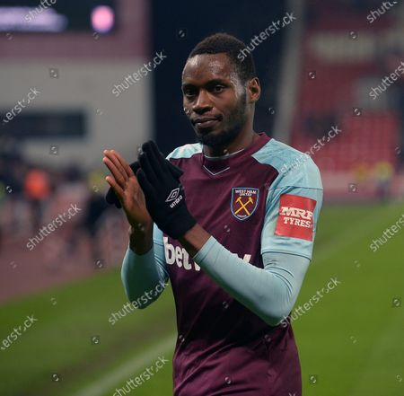 Diafra Sakho of West Ham United after the Premier League match between Stoke City and West Ham United at Bet365 Stadium on December 16, 2017 in Stoke on Trent, England.