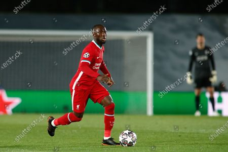 Naby Keita of Liverpool in action during the UEFA Champions League, Quarter finals round 1, football match played between Real Madrid and Liverpool FC at Alfredo Di Stefano stadium on April 06, 2021 in Valdebebas, Madrid, Spain.