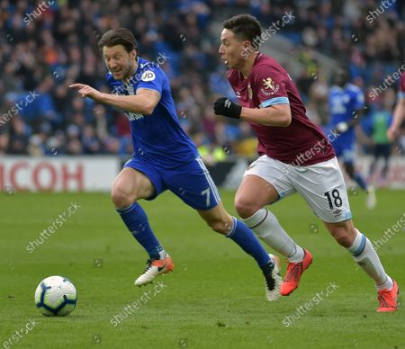 Samir Nasri of West Ham United in action with Harry Arter of Cardiff City during the Premier League match between Cardiff City and West Ham United at Cardiff City Stadium on March 9, 2019 in Cardiff, United Kingdom.