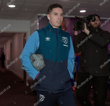 Samir Nasri of West Ham United arrives prior to the Premier League match between Cardiff City and West Ham United at Cardiff City Stadium on March 9, 2019 in Cardiff, United Kingdom.