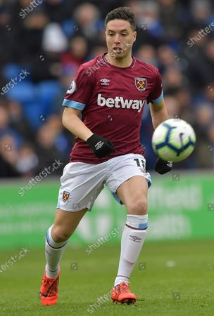 Samir Nasri of West Ham United in action during the Premier League match between Cardiff City and West Ham United at Cardiff City Stadium on March 9, 2019 in Cardiff, United Kingdom.