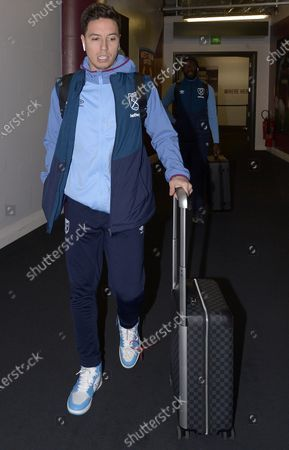 Samir Nasri of West Ham United arrives prior to the Premier League match between West Ham United and Huddersfield Town at London Stadium on March 16, 2019 in London, United Kingdom.