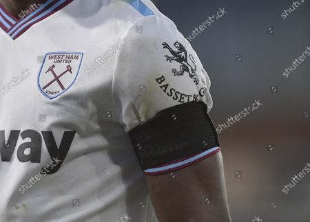 General view of West Ham United player wearing a black armband in memory of Martin Peters a former West Ham United player during the Premier League match between Crystal Palace and West Ham United at Selhurst Park on December 26, 2019 in London, United Kingdom.