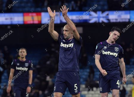 Pablo Zabaleta (C) of West Ham United appreciates the applause from both sets of supporters following the Premier League match between Manchester City and West Ham United at Etihad Stadium on February 19, 2020 in Manchester, United Kingdom.