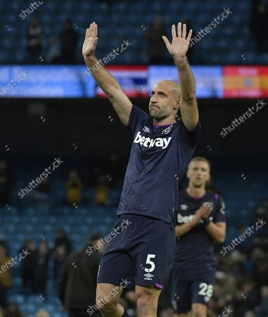Stock Picture of Pablo Zabaleta of West Ham United appreciates the applause from both sets of supporters following the Premier League match between Manchester City and West Ham United at Etihad Stadium on February 19, 2020 in Manchester, United Kingdom.