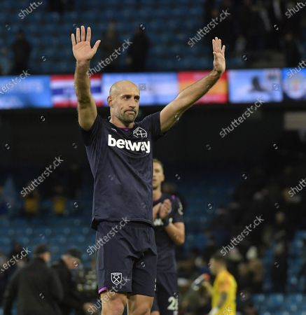 Stock Image of Pablo Zabaleta of West Ham United appreciates the applause from both sets of supporters following the Premier League match between Manchester City and West Ham United at Etihad Stadium on February 19, 2020 in Manchester, United Kingdom.