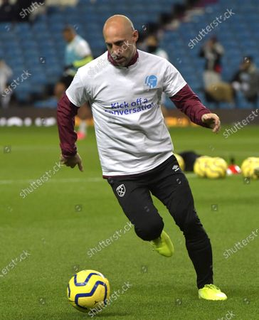 Pablo Zabaleta of West Ham United warms up in what will likely be his last visit back to the Etihad as a player prior to the Premier League match between Manchester City and West Ham United at Etihad Stadium on February 19, 2020 in Manchester, United Kingdom.