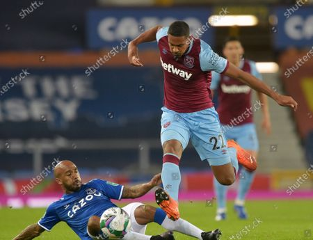 Sebastien Haller of West Ham United in action with Fabian Delph of Everton during the Carabao Cup fourth round match between Everton and West Ham United at Goodison Park on September 30, 2020 in Liverpool, England. Football Stadiums around United Kingdom remain empty due to the Coronavirus Pandemic as Government social distancing laws prohibit fans inside venues resulting in fixtures being played behind closed doors.