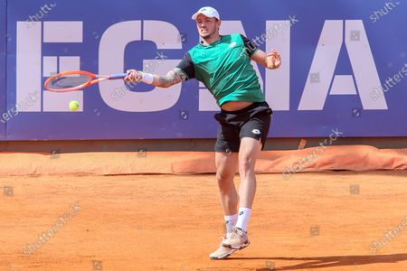 Stock Picture of Dennis Novak in action during the ATP Tour 250 Sardegna Open tennis match in Cagliari, Italy on April 06, 2021.