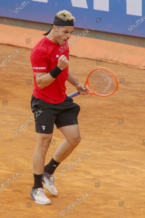Thomas Fabbiano in action during the ATP Tour 250 Sardegna Open tennis match in Cagliari, Italy on April 06, 2021.