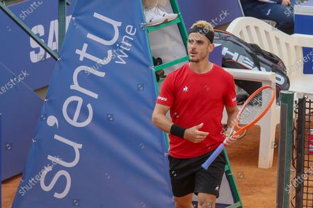 Stock Image of Thomas Fabbiano in action during the ATP Tour 250 Sardegna Open tennis match in Cagliari, Italy on April 06, 2021.