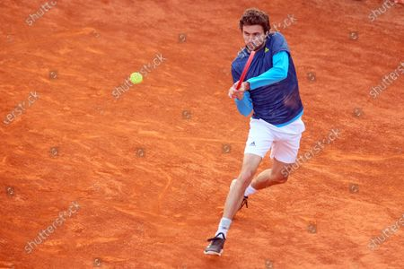 Gilles Simon in action during the ATP Tour 250 Sardegna Open tennis match in Cagliari, Italy on April 06, 2021.