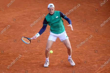 Stock Image of Stefano Travaglia in action during the ATP Tour 250 Sardegna Open tennis match in Cagliari, Italy on April 06, 2021.