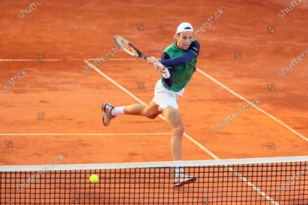 Stefano Travaglia in action during the ATP Tour 250 Sardegna Open tennis match in Cagliari, Italy on April 06, 2021.