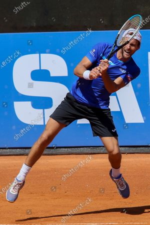 Joao Sousa in action during the ATP Tour 250 Sardegna Open tennis match in Cagliari, Italy on April 06, 2021.
