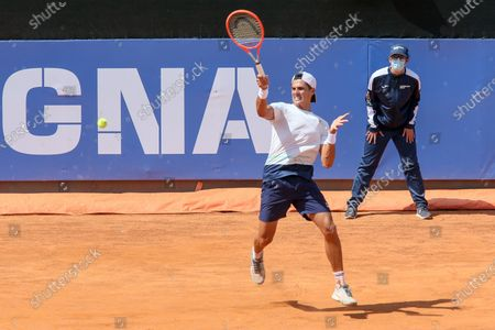 John Millman in action during the ATP Tour 250 Sardegna Open tennis match in Cagliari, Italy on April 06, 2021.