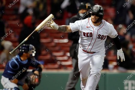 Boston Red Sox's Christian Vazquez runs on his solo home run during the ninth inning of a baseball game, against the Tampa Bay Rays, in Boston