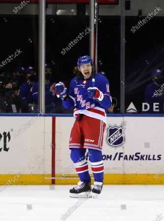 New York Rangers' Artemi Panarin celebrates his power-play goal against the Pittsburgh Penguins during the first period of an NHL hockey game, in New York