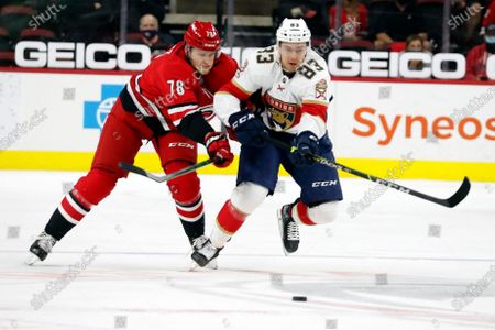 Stock Image of Carolina Hurricanes Steven Lorentz (78) and Florida Panthers Juho Lammikko (83) chase down the puck during the first period of an NHL hockey game in Raleigh, N.C