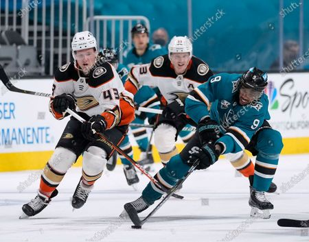 San Jose Sharks left wing Evander Kane (9) works for the puck against Anaheim Ducks center Danton Heinen (43) during the second period of an NHL hockey game, in San Jose, Calif