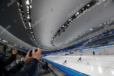 Chinese skaters Ma Kaiwen, left, and Chen Chuang compete in the men's 500 meters race during a test event for the 2022 Beijing Winter Olympics at the National Speed Skating Oval in Beijing, . The organizers of the 2022 Beijing Winter Olympics has started 10 days of testing for several sport events in five different indoor venues from April 1-10, becoming the first city to hold both the Winter and Summer Olympics