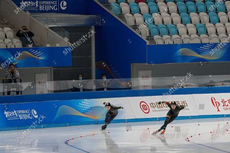 Chinese skaters Ma Kaiwen, right, and Chen Chuang compete in the men's 500 meter race during a test event for the 2022 Beijing Winter Olympics at the National Speed Skating Oval in Beijing, . The organizers of the 2022 Beijing Winter Olympics has started 10 days of testing for several sport events in five different indoor venues from April 1-10, becoming the first city to hold both the Winter and Summer Olympics
