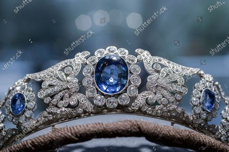 The Beauharnais sapphire and diamond tiara is seen during a viewing at Christie's auction house in Amsterdam, Netherlands, . The tiara and it's accompanying ring and earrings studded with diamonds and sapphires were in Amsterdam ahead of their auction next month in Geneva. The Beauharnais jewels once belonged to Napoleon Bonaparte's adopted daughter, Stephanie de Beauharnais, Grand Duchess of Baden