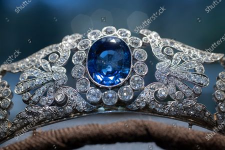 Stock Image of The Beauharnais sapphire and diamond tiara is seen during a viewing at Christie's auction house in Amsterdam, Netherlands, . The tiara and it's accompanying ring and earrings studded with diamonds and sapphires were in Amsterdam ahead of their auction next month in Geneva. The Beauharnais jewels once belonged to Napoleon Bonaparte's adopted daughter, Stephanie de Beauharnais, Grand Duchess of Baden