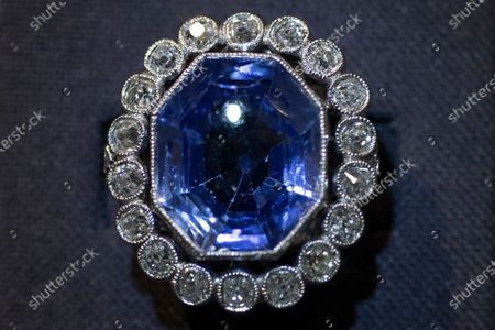 The Beauharnais sapphire and diamond ring is seen during a viewing at Christie's auction house in Amsterdam, Netherlands, . The Beauharnais tiara and it's accompanying ring and earrings studded with diamonds and sapphires were in Amsterdam ahead of their auction next month in Geneva, the jewels once belonged to Napoleon Bonaparte's adopted daughter, Stephanie de Beauharnais, Grand Duchess of Baden