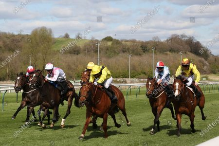 Stock Image of BATRAAN (9) ridden by Gavin Ashton and trained by Roger Varian winning the Mansionbet Watch And Bet Handicap over 5f  at Nottingham Racecourse, Nottingham