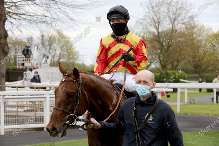 SIR RON PRIESTLEY (5) ridden by Franny Norton and trained by Mark Johnston enter the Winners Enclosure after winning the Listed Mansionbet Barry Hill Further Flight Stakes over 1m 6f at Nottingham Racecourse, Nottingham