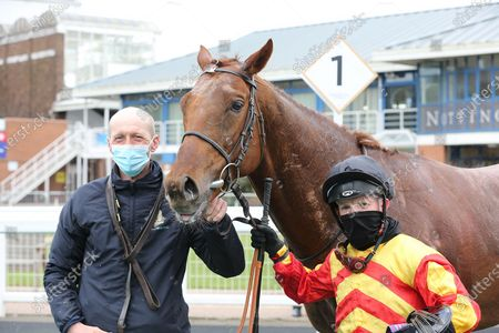 SIR RON PRIESTLEY (5) ridden by Franny Norton and trained by Mark Johnston in the Winners Enclosure after winning the Listed Mansionbet Barry Hill Further Flight Stakes over 1m 6fat Nottingham Racecourse, Nottingham